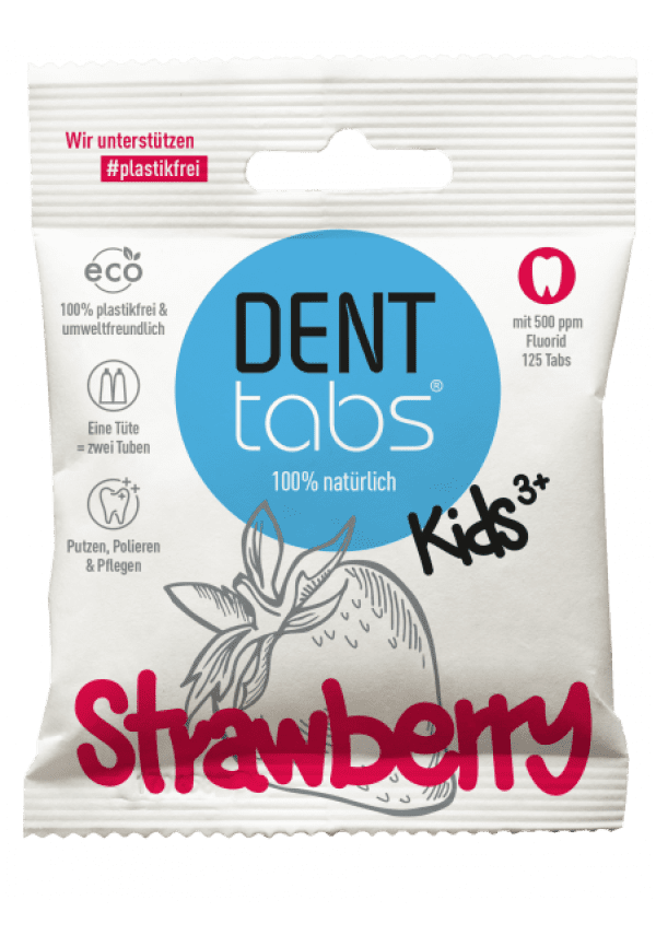 Denttabs teeth cleaning tablets with fluoride - strawberry flavored